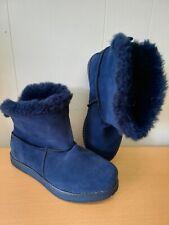 Skechers Australia Adorbs Polar Ankle Boots Size Uk 3 Eur 36 Navy Suede Fur New