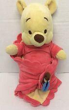 """Hong Kong Disneyland Pooh Bear Wrap Blanket Plush Disney Babies 10"""""""