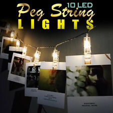 2x10 LED Photo Peg Clip String Light Hanging Pictures Xmas Wedding Party Decor