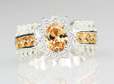2018 Fashion Orange Topaz Silver Filled Wedding Bridal Ring Gift Size 8