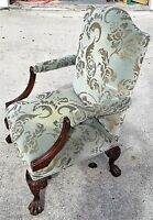 Antique Chippendale Style French Burnout Velvet Claw & Ball Bergere Armchair