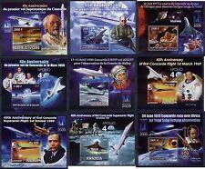 Concorde Space Apollo Galilei Gagarin Hubble collection 9 different s/s