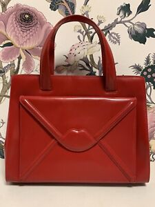 Lulu Guinness Red Polished Leather Handbag (01)
