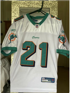 #21 DAVIS MIAMI DOLPHINS WHITE NFL SEWN STITCHED JERSEY SIZE Large 48