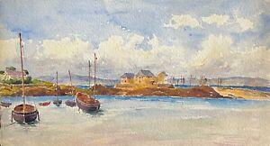 Douarnenez aquarelle de 1920 anonyme  Bretagne Finistère France