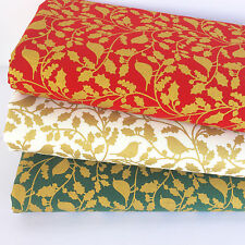 Bundle 3 christmas fat quarters Gold doves on red green & ivory 100% cotton no.5
