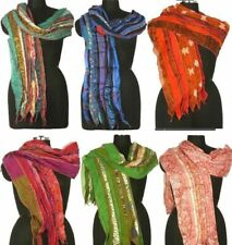 75 PCS Lot Vintage Silk Sari Recycle Scarf Wraps 10x70 Patchwork Stole Assorted