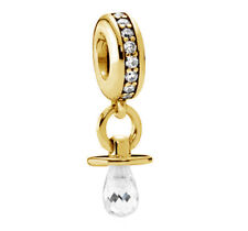 New Genuine Pandora Shimmering Pacifier Charm Heavily 18K Gold Plated 791890CZ
