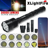30000 Lumens 3-12x CREE XML T6 LED 18650 Outdoor Flashlight Super Torch Light US