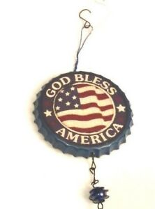 Wind Chime God Bless America Patriotic Red White Blue Bottle Cap Decor Metal New