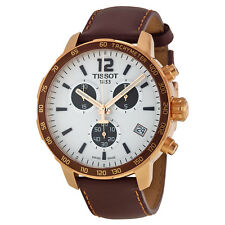 Tissot Quickster Chronograph Silver Dial Brown Leather Mens Sports Watch