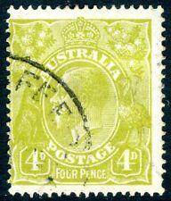 Australia - 1928 4d GIALLO-VERDE OLIVA PERF 14 SG 91 BELLE USATO V16050