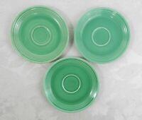 "3 Vintage Homer Laughlin Fiestaware Saucers Original Green 6"""
