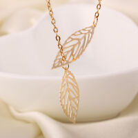 New Women Silver Gold Double Leaves Pendant Chain Necklace Wedding Jewelry Gift