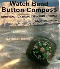 Watchband Compact Survival Kit Button Compass, Hiking, Camping