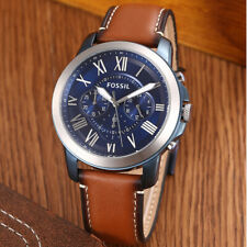 Fossil FS5151 Grant Blue dial Men's Brown Leather 44mm Chronograph Watch