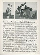 1951 Aviation Article Swiss Anti Aircraft Guided Missile Oerlikon Machine Works