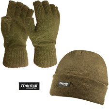 Olive Green Bob Hat Beanie Thermal Lined + Warm Fingerless Fishing Gloves Set