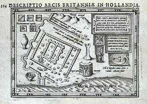 KATWIJK, NETHERLANDS, ROMAN CITY, BERTIUS original antique map 1618