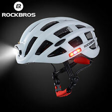 ROCKBROS MTB Rennrad Helme Mit Kopf Licht USB Aufladen Wasserfest 57-62cm Weiß