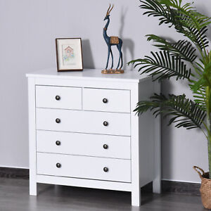 Bedroom Home 5 Chest Of Drawers w/ Feet & Handles White