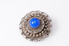 Jugendstil Brosche filigran Silber Tracht blauer Stein Norwegen