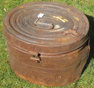 Antique Victorian Vintage Metal Hat Box
