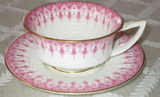 Royal Worcester Ovington Brothers Pink & White Tea Cup & Saucer Set