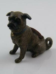 COLD PAINTED AUSTRIAN BRONZE PUG DOG PIN CUSHION