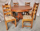 """Arts & Crafts Mission Round Oak Dining Table, 6 Chairs, & 3 Leaves 54""""  Restored"""