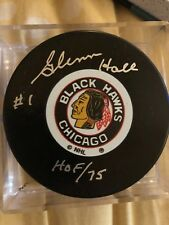 Glenn Hall Autographed Chicago Black Hawks NHL Hockey Puck HOF 75 w/ COA
