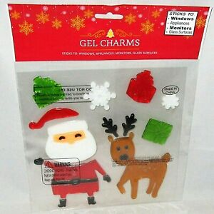 CHRISTMAS Window Gels SANTA W/ REINDEER AND GIFTS