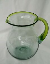 PITCHER HAND MADE FROM RECYCLED GLASS - IMPORTED FROM MEXICO - (LIME GREEN)
