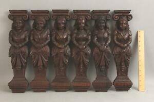 6 Antique 19thC Carved Oak English Royal Woman, Architectural Fragments, NR