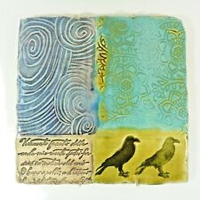 Glazed Ceramic Plaque Hanging Decor Blue Yellow Birds Italian Uneven 7.5x7.5""