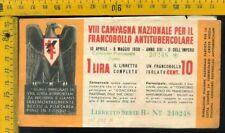 Libretto erinnofilo antitubercolare tv 176