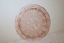 """Jeannette Glass PINK CHERRY BLOSSOM Depression U.S.A. 10 3/8"""" Footed Cake Plate"""