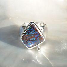 Boulderopal Ring, 925er Silber, Edelsteinring (22080), Opal, mit Brillant