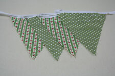 Vintage Green Stripe and Spot cotton fabric single side Bunting 10m/32ft