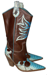 Para Raio Size 7 Brown Leather Turquoise Overlay Cowboy Boots Western