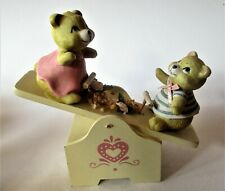 Music box Two bears on seesaw wood and resin