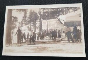 Vintage RPPC showing Strawberry Ski Hut near Lake Tahoe with views & skiers,