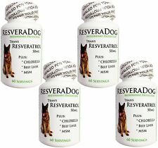 4 ResveraDog ~ Trans Resveratrol for Dogs ~ Beef Liver MSM Chlorella Anti Aging