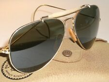 1960s 58MM VINTAGE B&L RAY BAN 12K GF WRAPAROUNDS OUTDOORSMAN AVIATOR SUNGLASSES