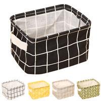 Geometry Desk Storage Box Cotton Linen Organizer Basket Foldable Cosmetic Case