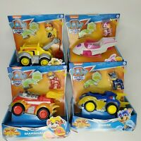 Lot of 4 Paw Patrol Mighty Pups Deluxe Vehicle NIB SKYE, RUBBLE, CHASE, MARSHALL