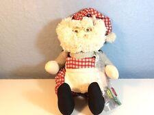 Stuffed Cloth Yarn Carpenter Santa Claus Figure With Apron Tool Belt and Tools