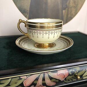 Grosvenor China England Demitasse Cup Saucer Gilded Greek Key Art Deco Gold Whit