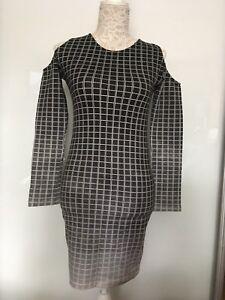 Motel Rocks Maria BNWT Graduated Ombre Squares Black Cold Shoulder Dress Size M