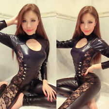 Women Sexy Lingerie Catsuit  Lace Up Jumpsuit Black Bodycon Playsuit PU Leather